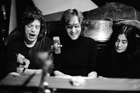 by Bob Gruen, John Lennon, Yoko, & Mick Jagger, NYC, 1972