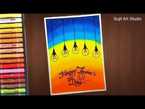 Teacher S Day Card Drawing Very Easy With Oil Pastels For Beginners Step By Step Youtube In 2020 Diy Art Painting Oil Pastel Art Oil Pastel