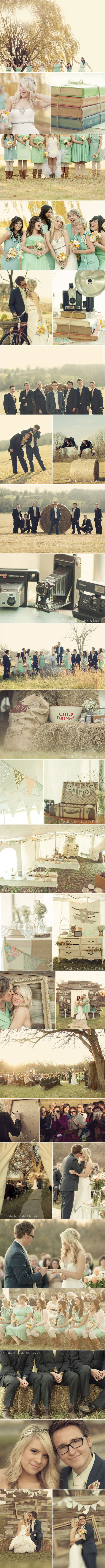 i like the hay bail idea. i like that its outside and the girls are wearing cowboy boots. pictures next to hay bails and the station for pictures to be taken with the old wood background. I like the pavilion with the old white dresser to put gifts on.: Farm Wedding, Vintage Wedding, Photography Wedding, Wedding Ideas, Wedding Stuff, Country Weddings, Wedding Photo, Dream Wedding