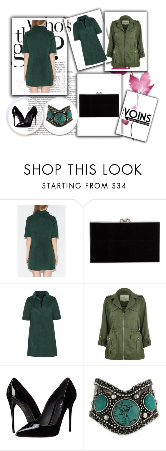 """Dark Green Suedette Shift Dress"" by almma-karic ❤ liked on Polyvore featuring Charlotte Olympia, River Island, Dolce&Gabbana, yoins and yoinscollection"
