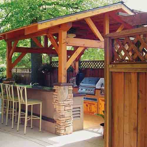 Beautiful covered patios and simple outdoor kitchen on for Covered outdoor kitchen designs