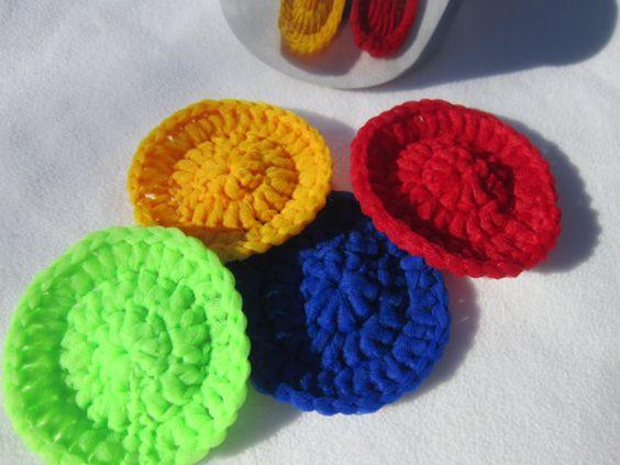 Nylon Kitchen Scrubbies Set of Four by crochetedbycharlene on Etsy