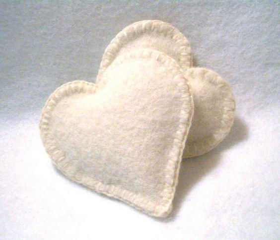 Pocket Hand Warmers Wool WHITE HEART by ScissorwizardDesigns