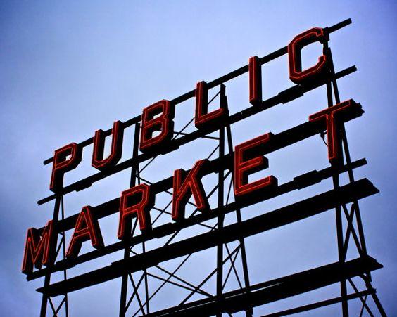 Pike Place Market Public Market Neon Sign Seattle by LumierePhotos, $30.00