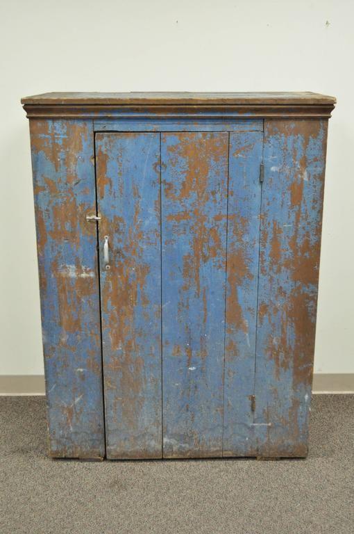 Antique Blue Distress Painted Pa Rustic Primitive Jelly Cupboard Pantry Cabinet Jelly Cupboard Primitive Kitchen Primitive Furniture