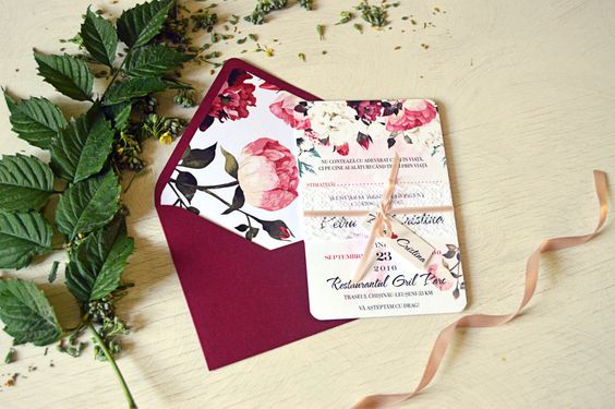 Marsala Wedding Invitation, Floral Invitation Suite, Elegant Invite, Floral…: