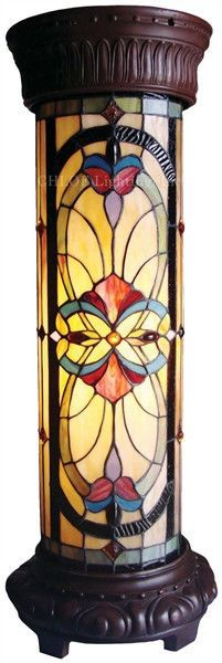 ~ONE AT THIS PRICE~ Pedestal Floor Lamp Victorian Tiffany Style Stained  Glass
