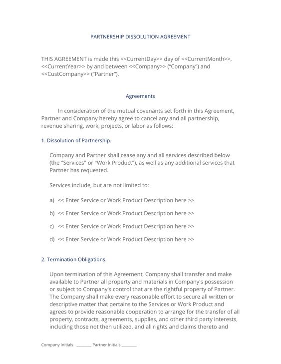 Partnership Dissolution Agreement  Use The Partnership Dissolution