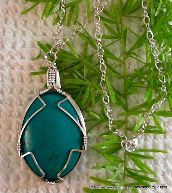 Turquoise 925 Sterling Silver Wire Wrapped Pendant         CC-11438