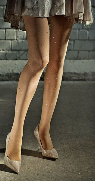 Polka Dots Print Sheer Tights Body Color & Silver Stones #TrendyLegs: