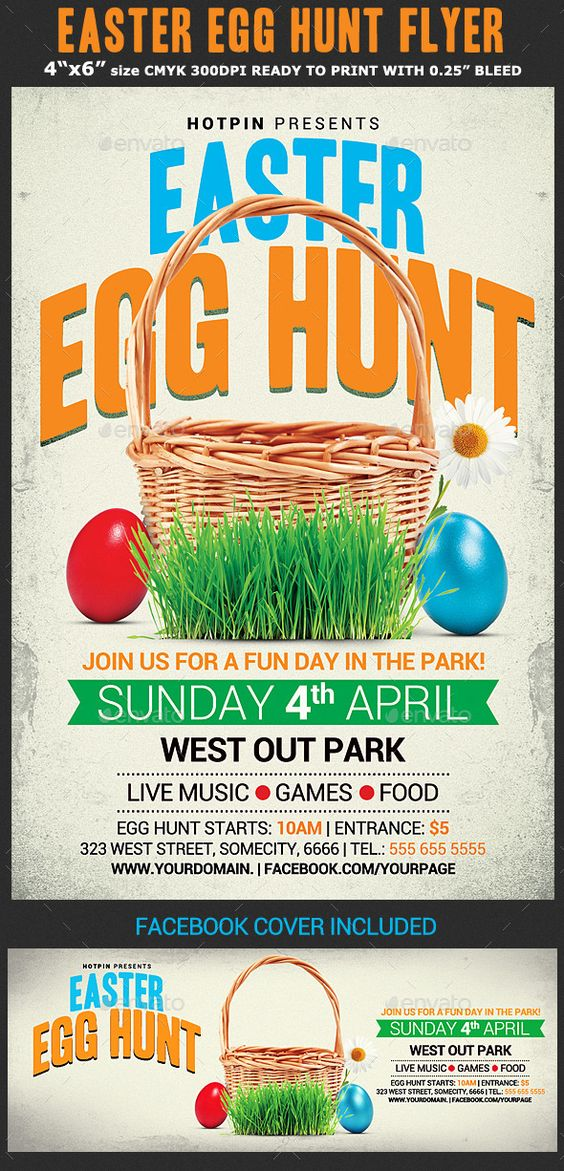 Easter Egg Hunt Flyer Template by Hotpin on @creativemarket - spring flyer template