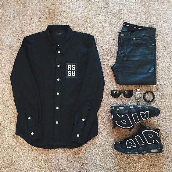 WEBSTA @ ldn2hk - Air Raf. #outfitgrid @outfitgrid @dennistodisco // Shirt: #rafsimons // Denim: #saintlaurent // Sunglasses: #supersunglasses // Watch: #rolex // Sneakers: #nike #moreuptempo