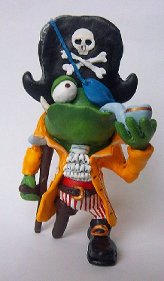 Pirate handmade Sculpture / Frog / Toad / by MizogCollectibles