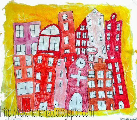 Tekenen en zo: Huizengroep in één kleur - groepswerk naar Alisa Burke