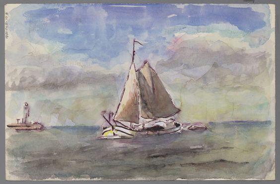 G. Bok, Sneek - Aquarel. Gezicht op Giethoorn en zeegezicht met klipper.