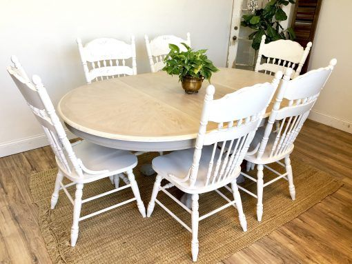 Oak Dining Table And Chairs Painted Distressed Furniture Oak