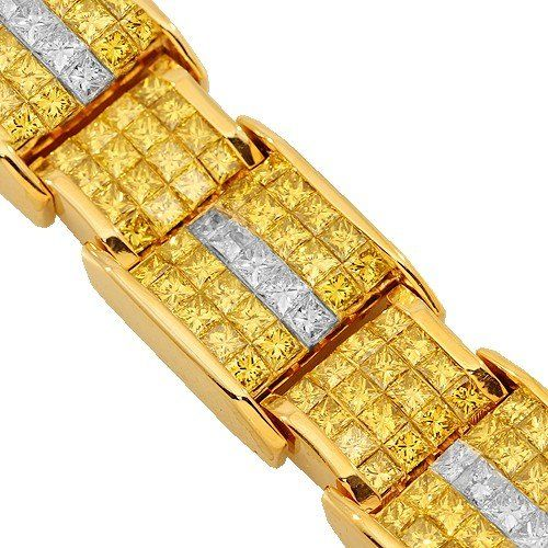 14K White Gold Mens Yellow Diamond Bracelet 32 50 Ctw