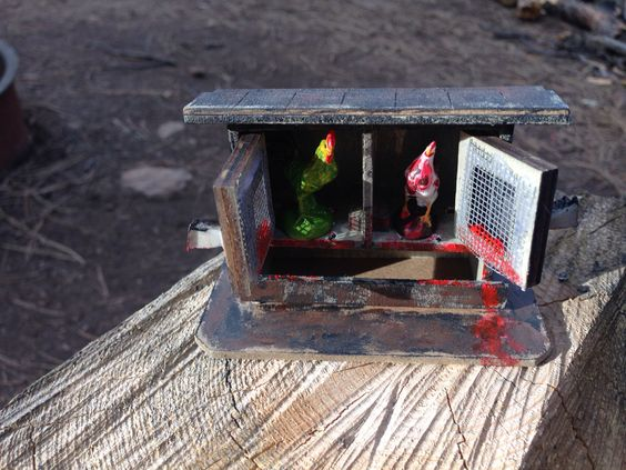 "Diorama titled ""zombie cocks""."