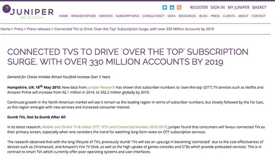 Connected Tvs To Drive Over The Top Subscription Surge With