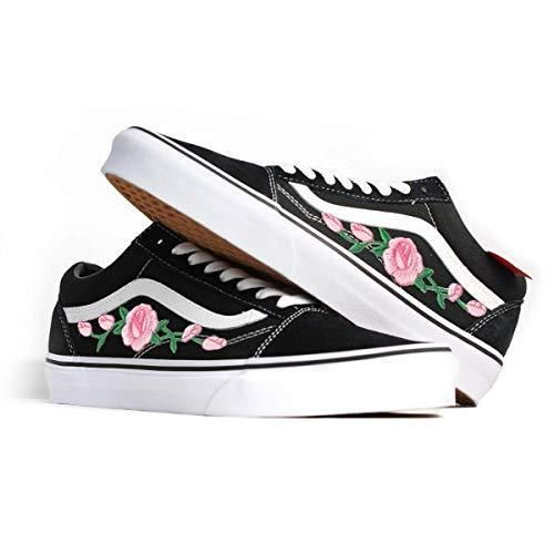 Vans shoes featuring a distinct Embroidered Pink Rose design