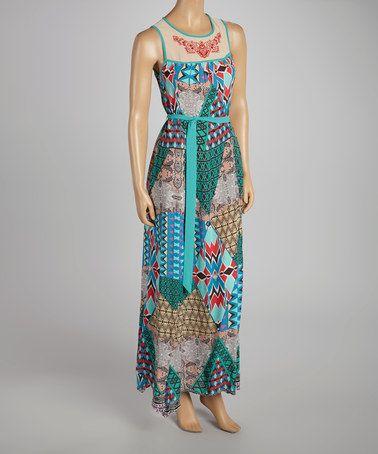 Look what I found on #zulily! Sky Blue & Ruby Geo Tie-Waist Maxi Dress by Flying Tomato #zulilyfinds