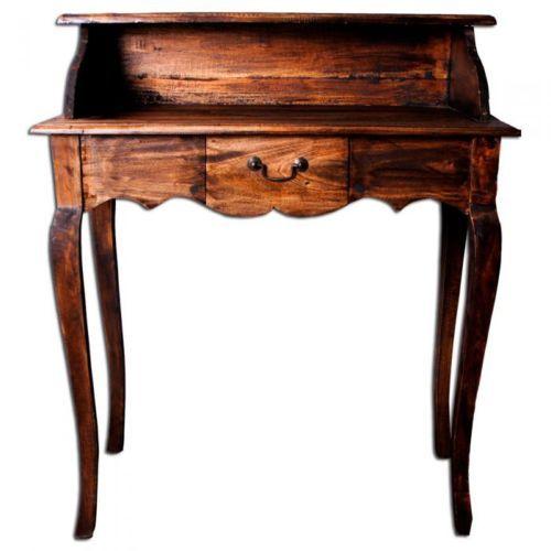 shabby chic sekretar massivholz schreibtisch buro holz rustic brown indo 92x80cm schreibtische. Black Bedroom Furniture Sets. Home Design Ideas
