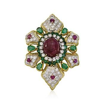 C. 1960 Vintage 17.90 ct. t.w. Ruby and 5.00 ct. t.w. Diamond Pin Pendant With Emeralds In 18kt Two-Tone Gold: 1960 Vintage, Gold 766060, Products 766060