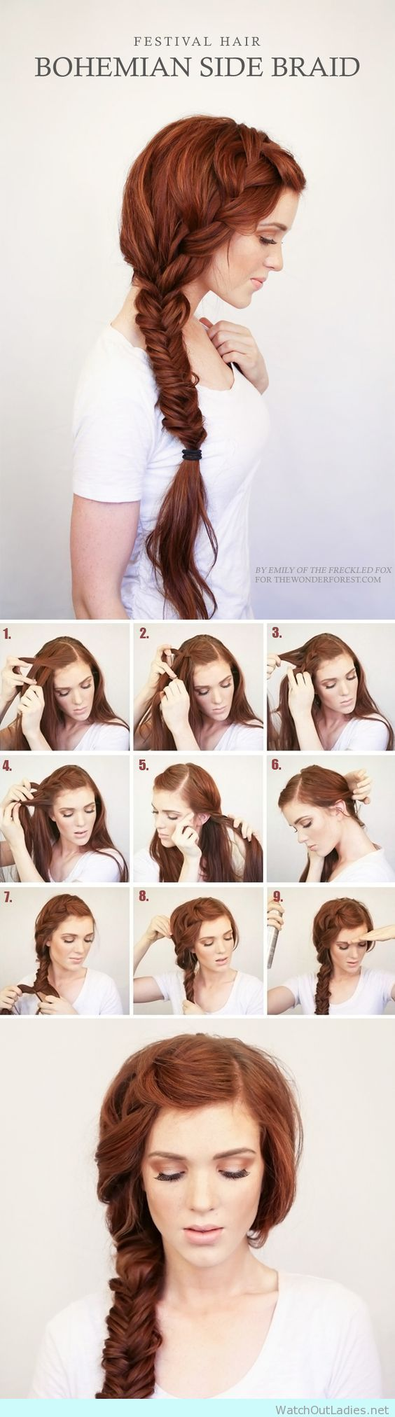 Bohemian side braided hairstyle for redhairs
