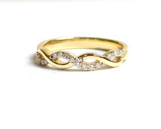 Diamond Wedding Infinity Band 14k Yellow Gold Yellow Gold Diamond