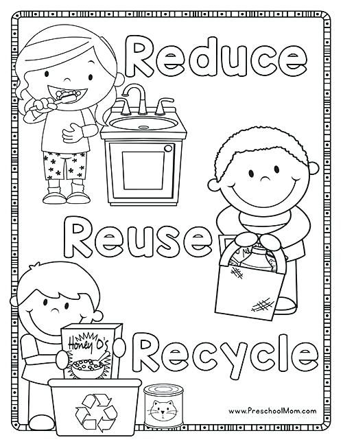 recycle coloring pages recycling coloring books plus reduce ...