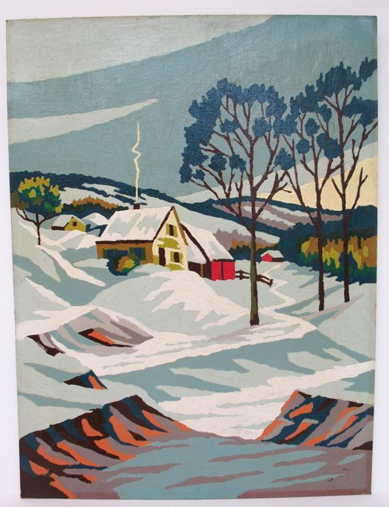 Vintage Paint by Number Maine Vintage Winter by MicheleACaron, $48.75