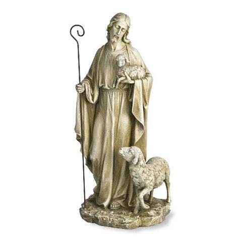 Jesus the Good Shepherd with Lamb Garden Statue
