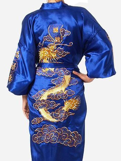 Mens Embroidery Robe Kimono Gown Nightgown Satin Sleepwear Bathrobe S-XXXL Navy Blue