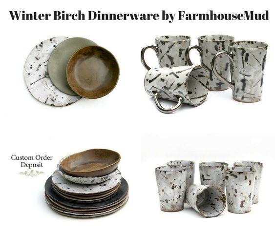 Winter Birch Dinnerware by FarmhouseMud