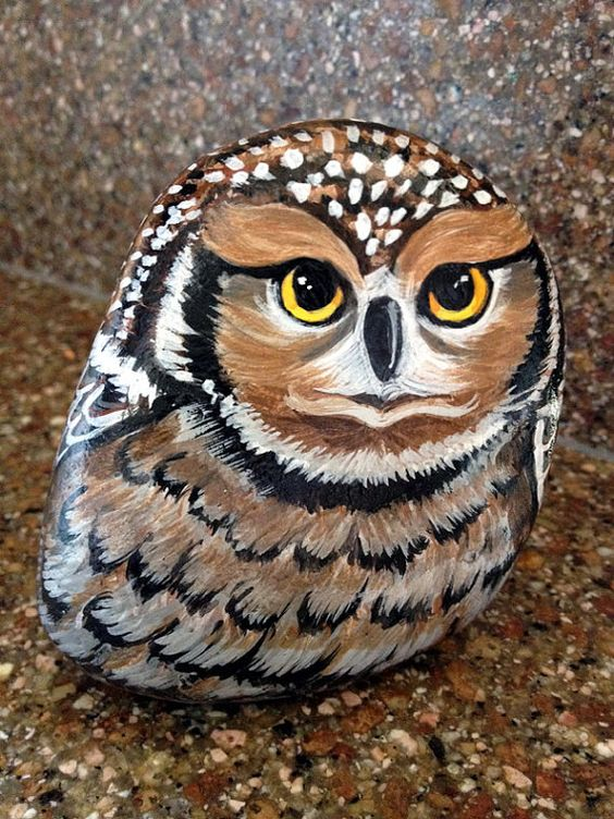 Owl Painted on Rock