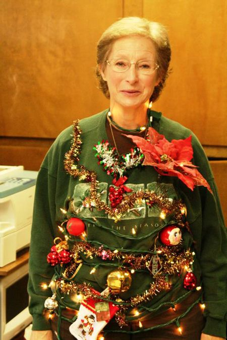 DIY ugly Christmas sweater that's a winner for an office party. Looking for ideas for your ugly Christmas sweater? Check out www.MyUglyChristmasSweater.com