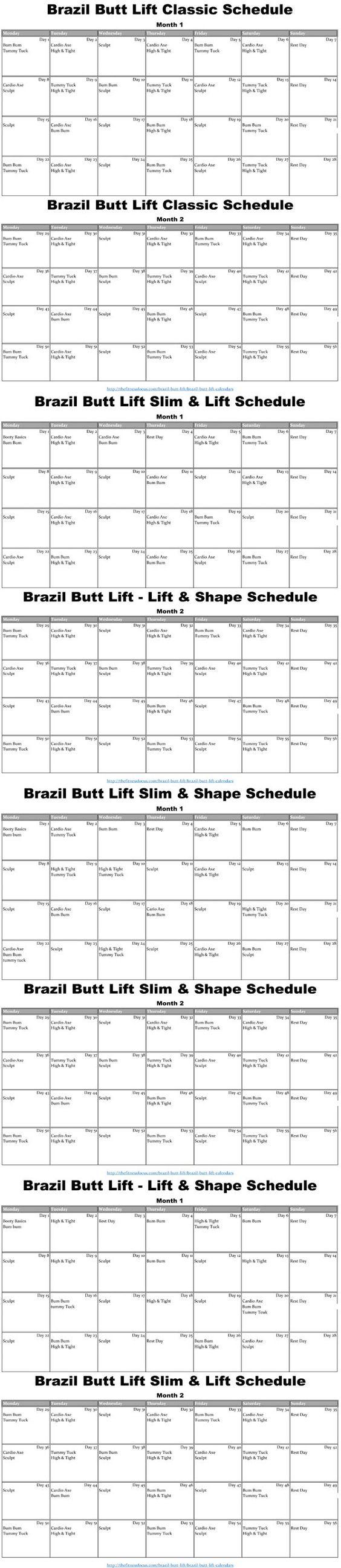 Brazil Butt Lift Calendars