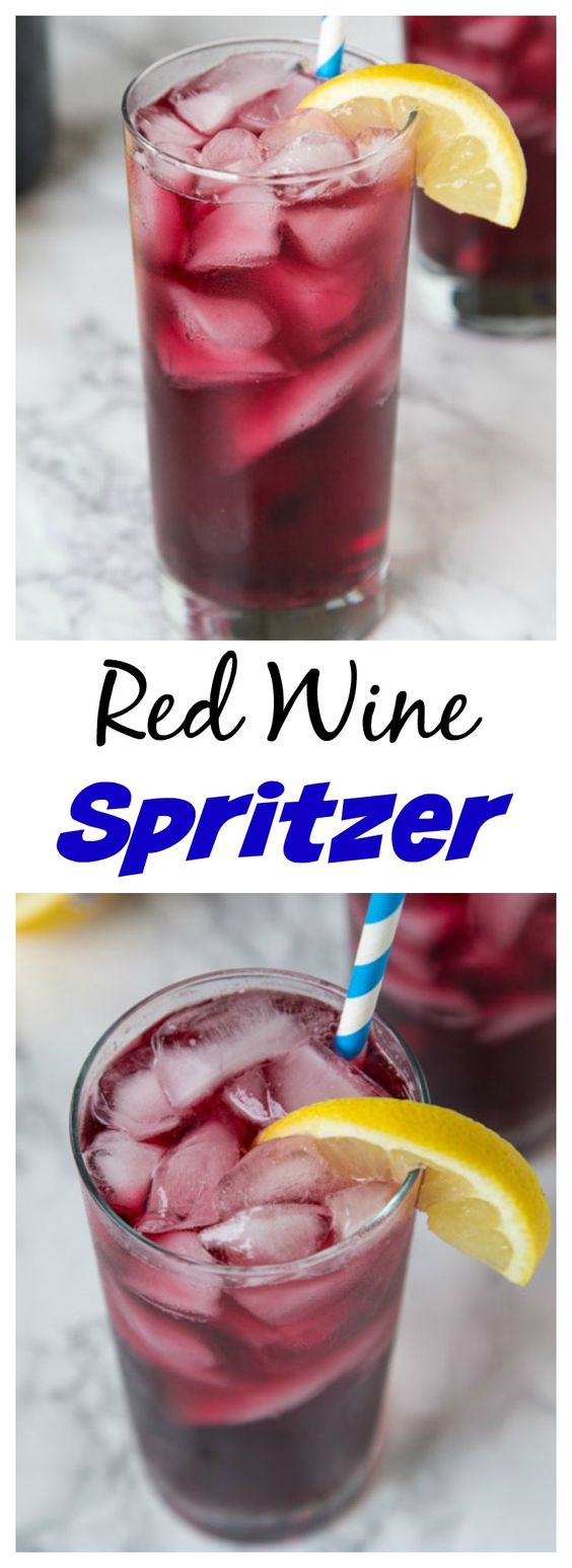 Red Wine Spritzer - a cool and refreshing cocktail you can enjoy anytime of day! So easy, you can make it in minutes!!  And with just 2 ingredients.