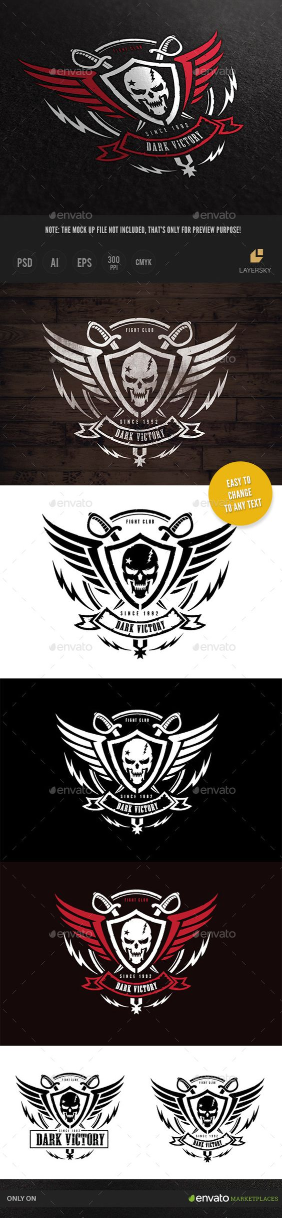 Dark Victory Logo Template #design Download: http://graphicriver.net/item/dark-victory/10053194?ref=ksioks