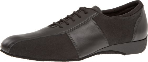Mod. 143 Herren Ballroom Sneaker Tanzschuhe Made in Germany Weite H für breite Füße Keil-Absatz 2,5 cm schwarz Nappaleder schwarz Microfaser 120