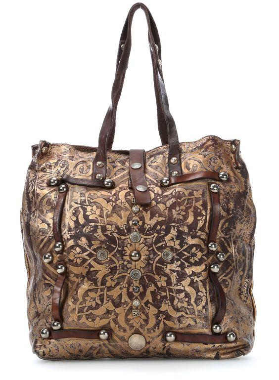 wardow.com - #campomaggi, Laminati Shopper Leder gold 32 cm