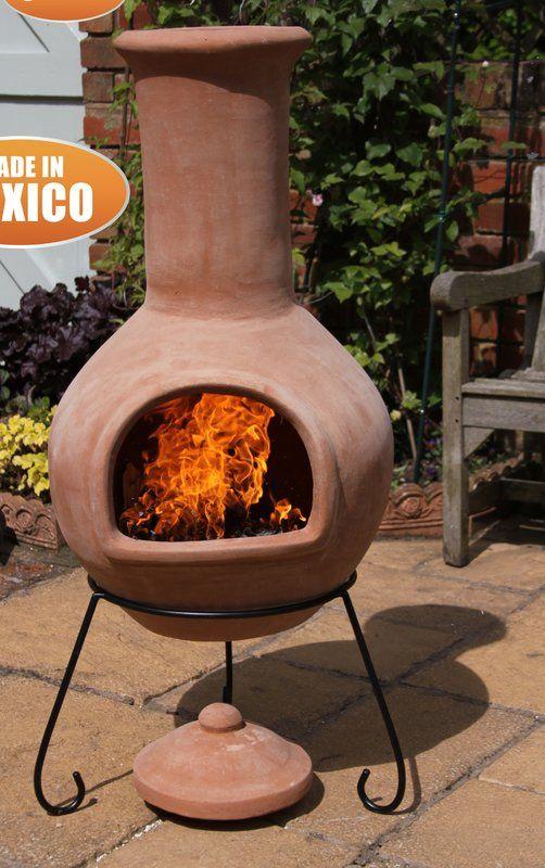 Gardeco Colima Clay Wood Burning Chiminea Wayfair Wood Burning Fire Pit Chiminea Clay Fire Pit