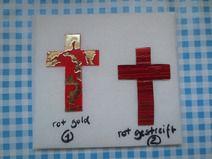 Wachsmotiv elegantes kleines Kreuz rot Töne (N)