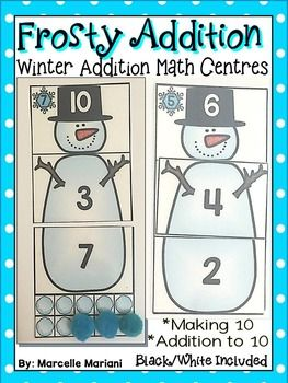 Frosty addition- winter math centre activities- addition to 20 ...