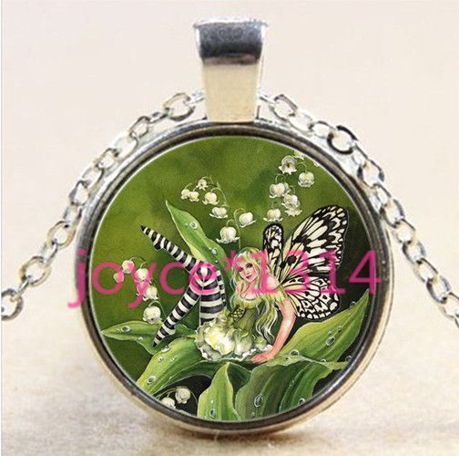 Butterfly fairy Cabochon Tibetan silver Glass Chain Pendant Necklace *XP-2291 #Unbranded