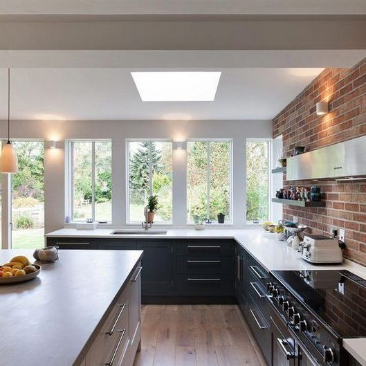 33 Most Noticeable Awesome Kitchen Window Design Homevignette Open Plan Kitchen Dining Living Open Plan Kitchen Living Room Kitchen Window Design
