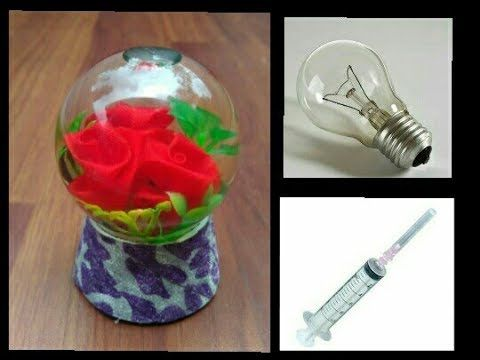 How To Make Snow Globe Flower Waste Fuse Bulb Flower Diy Youtube