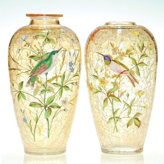 Moser Enameled Bird Vases: