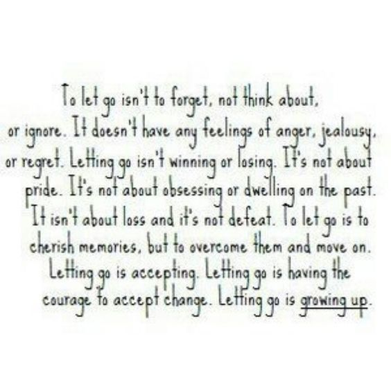 Letting go.