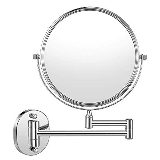 Cozzine Wall Mount Makeup Mirror 10x Magnifying Two Side Vanity Extendable Bathroom Mirror Chrom Finish Wall Mounted Makeup Mirror Magnifying Mirror Mirror